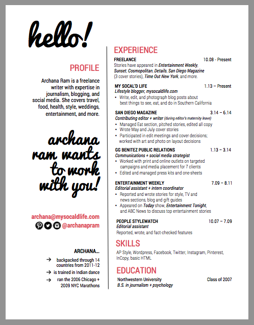 creative resume templates for writers