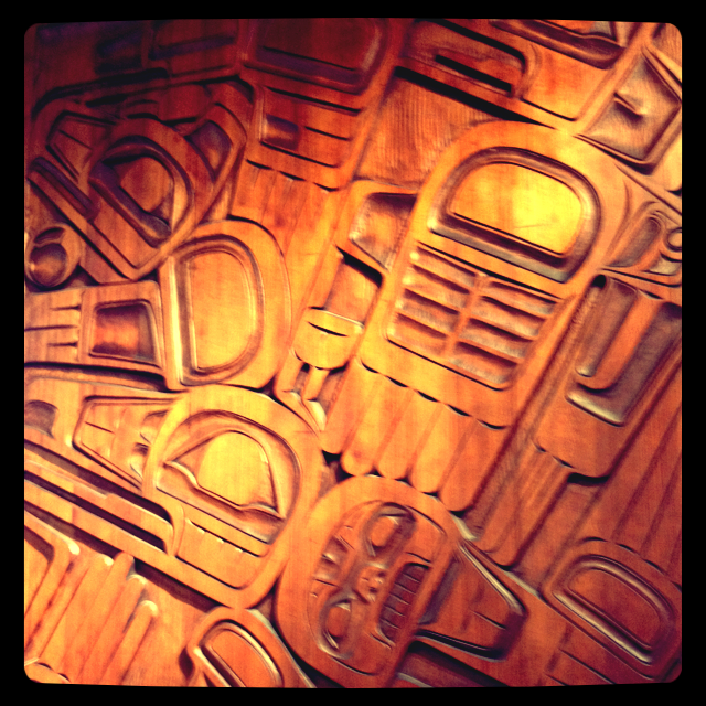 Wood panel in Kwaikuitl design, Museum of Anthropology, Vancouver, BC, summer 2012