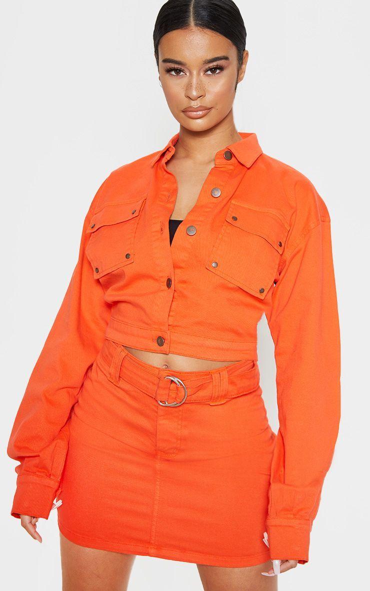 Neon Orange Oversized Cropped Denim Trucker Cropped Denim Fancy Outfits Neon Orange [ 1180 x 740 Pixel ]