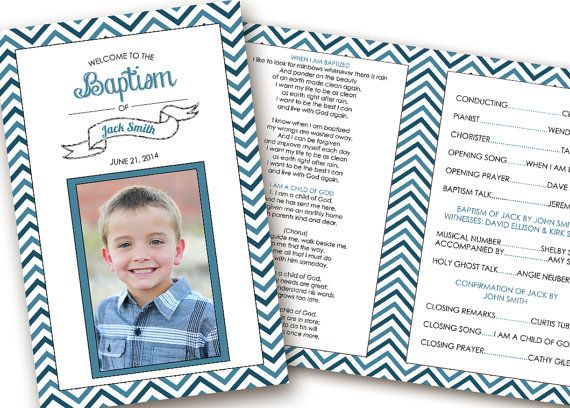 Printable Folding Baptism Program LDS Girl Boy By Brendaneuberger 1500