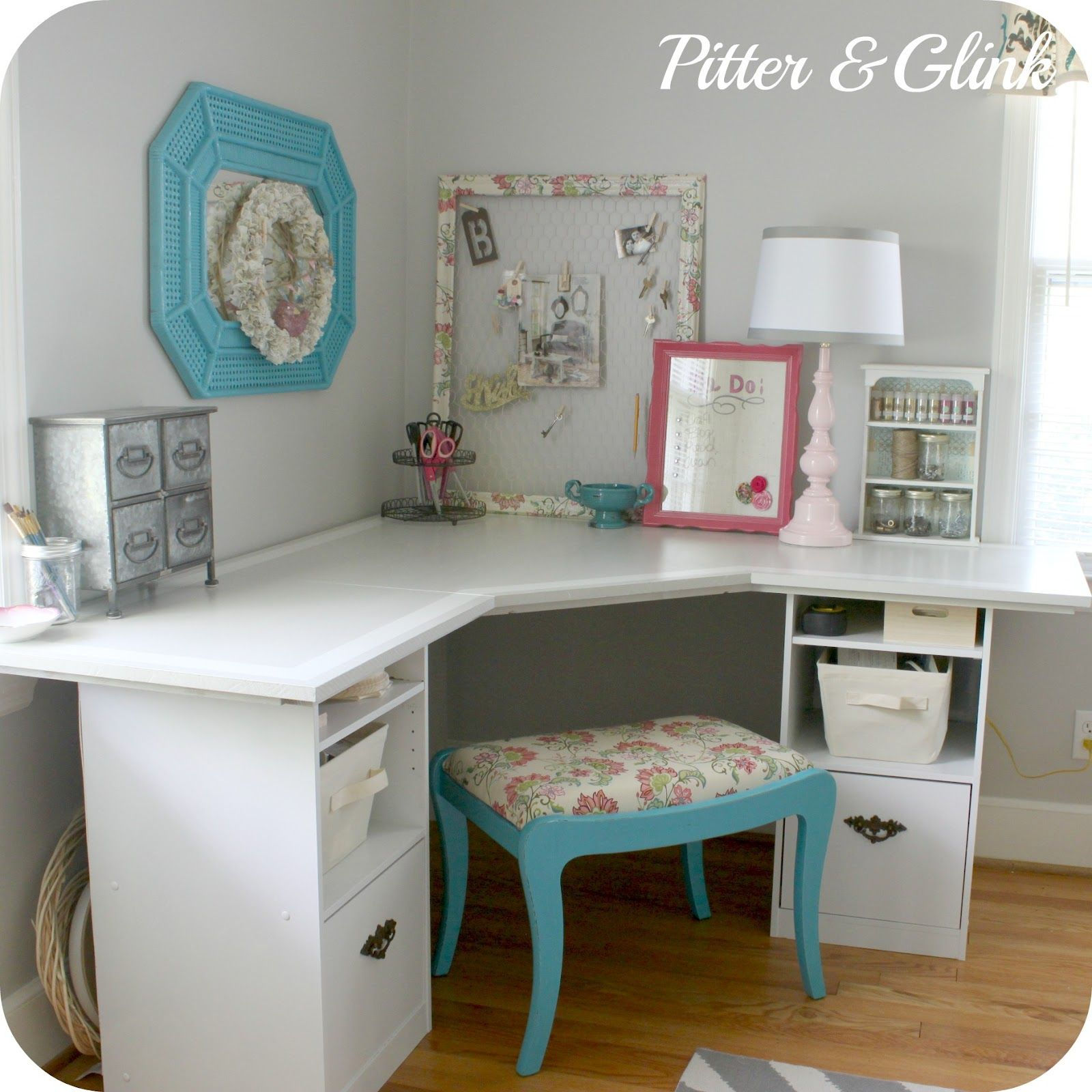 craft room corner desk this would be cute in the guest bedroom in