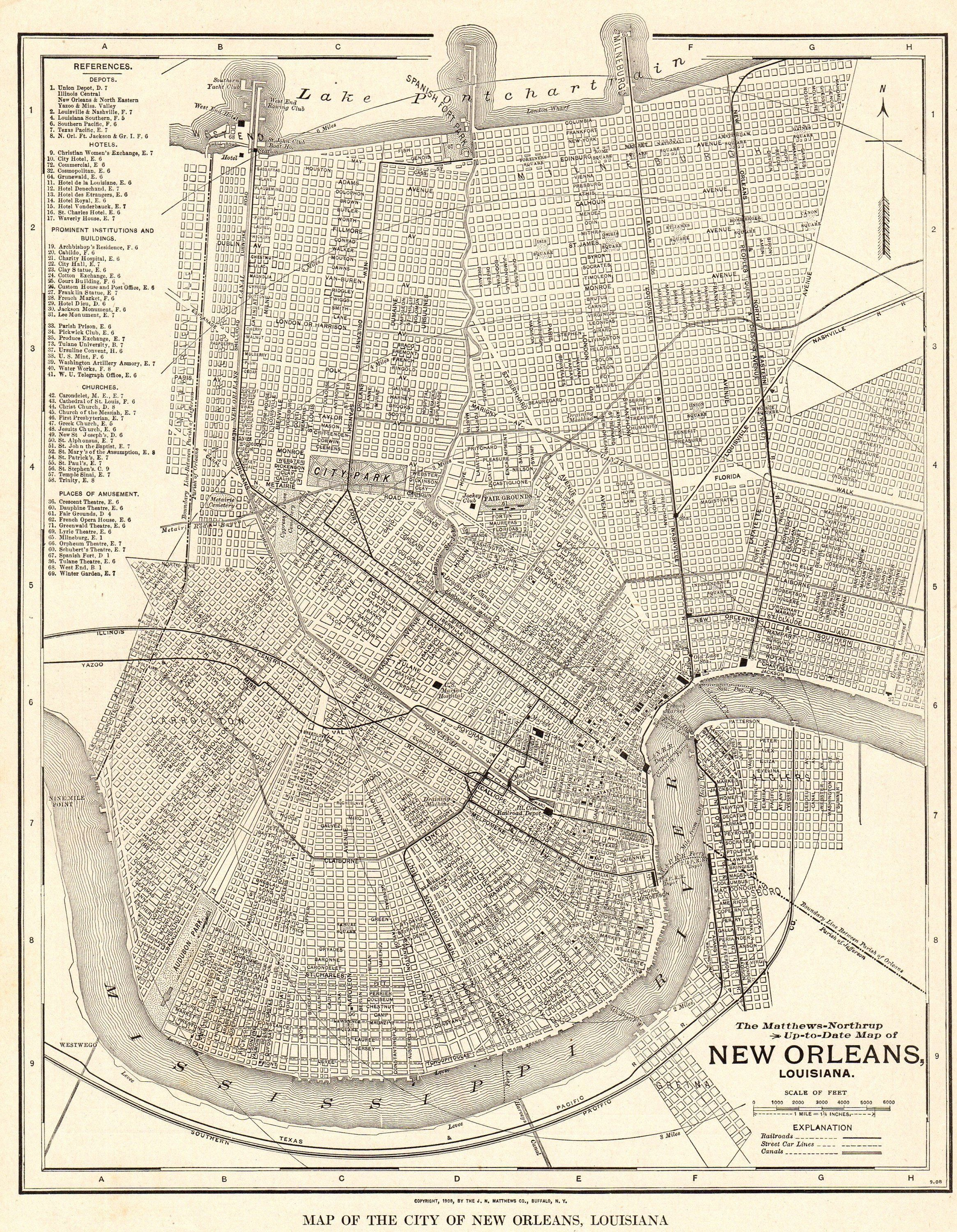 1925 Antique New Orleans City Map Vintage Map Of New Orleans