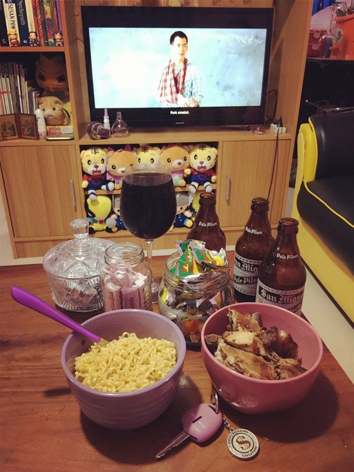 beer chocnut pancit canton coke sushine and pork liempo