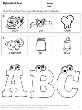 FREE Alphabetical Order: Here are three free worksheets as a sampler from our larger alphabetical order packet. They are great for a quick assessment or as no prep worksheets for early finishers.
