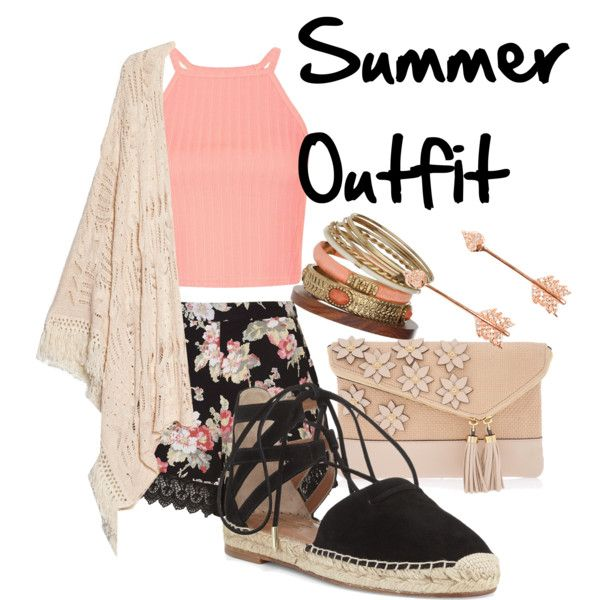 Summer Outfit by snowflake1025 on Polyvore featuring polyvore fashion style MANGO Topshop Aquazzura Henri Bendel Pamela Love Wallis