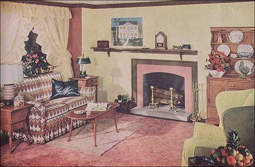1949 Colonial Living Room Colonial Living Room 1940s Home Decor 1940s Home
