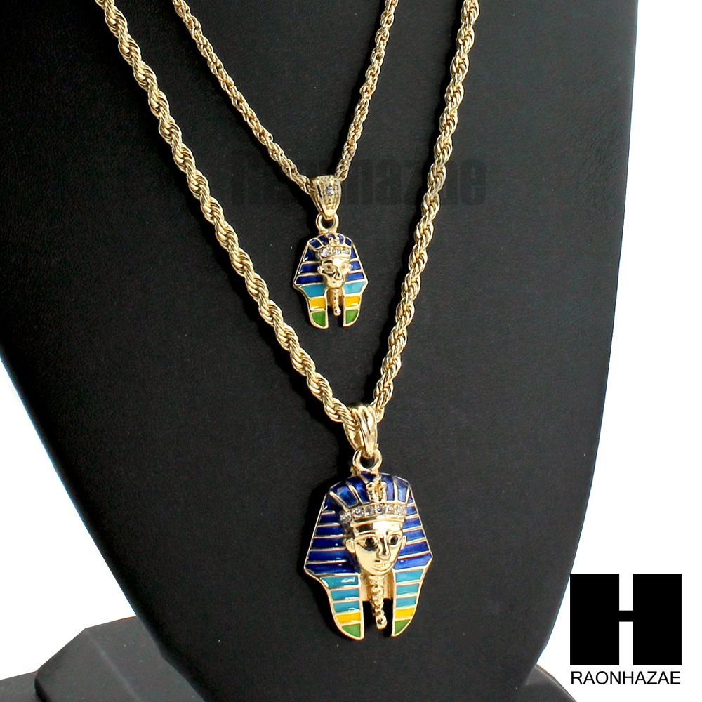 Men hip hop pharaoh king tut pendant w 22 26 rope chain necklace double combo set large small pendant combo necklace set 2pcs small aloadofball Gallery