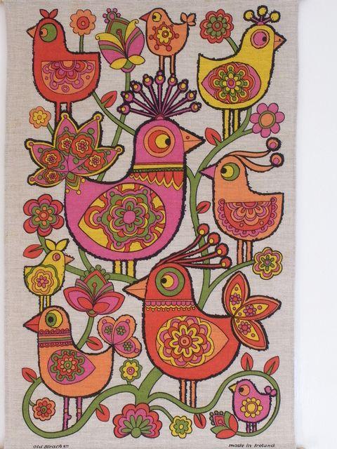 Birds Tea Towel by polly q, via Flickr