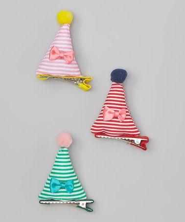 Pink Green Birthday Hat Clip Set