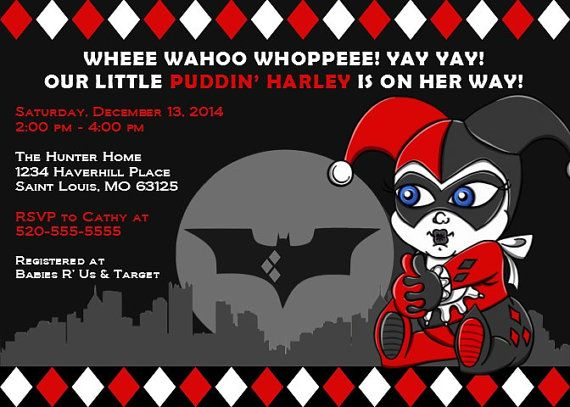 Printable Baby Shower Invitations Baby Harley Quinn By