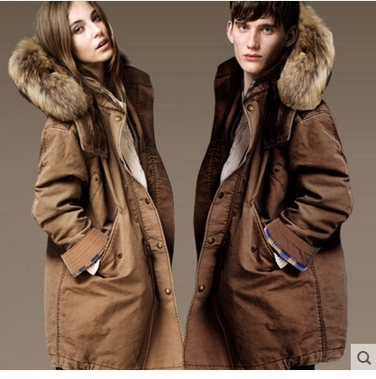 100.31$  Buy here - http://ali16u.worldwells.pw/go.php?t=32499080284 - 2015 new couples cotton-padded jacket winter clothes big yards with thick warm coat raccoon cap cotton-padded clothes on sale 100.31$