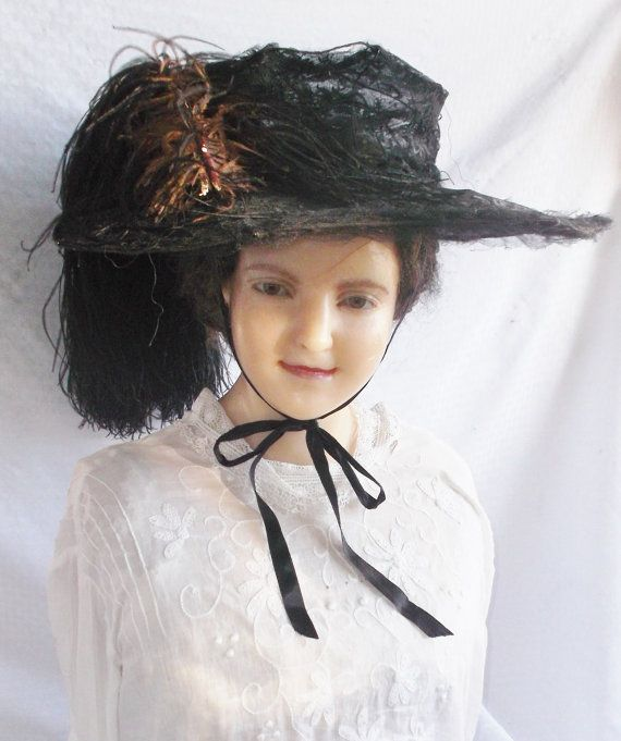 dc032f5da89 Clearance Edwardian Antique C. 1910 Huge Merry Widow Black Lace Hat ...