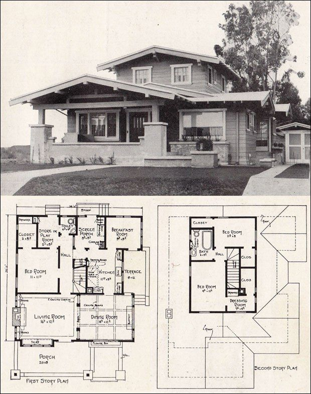 Architectural Plan Views Craftsman House Plans Vintage House Plans California Homes