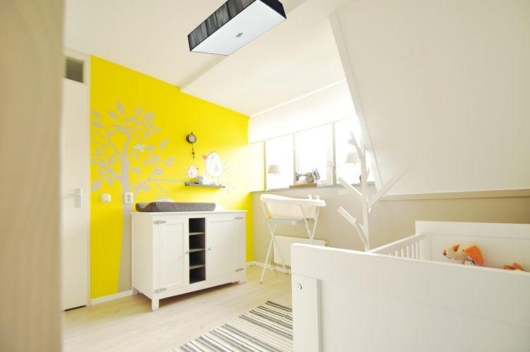 dcoration chambre bb en 30 ides cratives pour les murs - Decoration Chambre Bebe Jaune