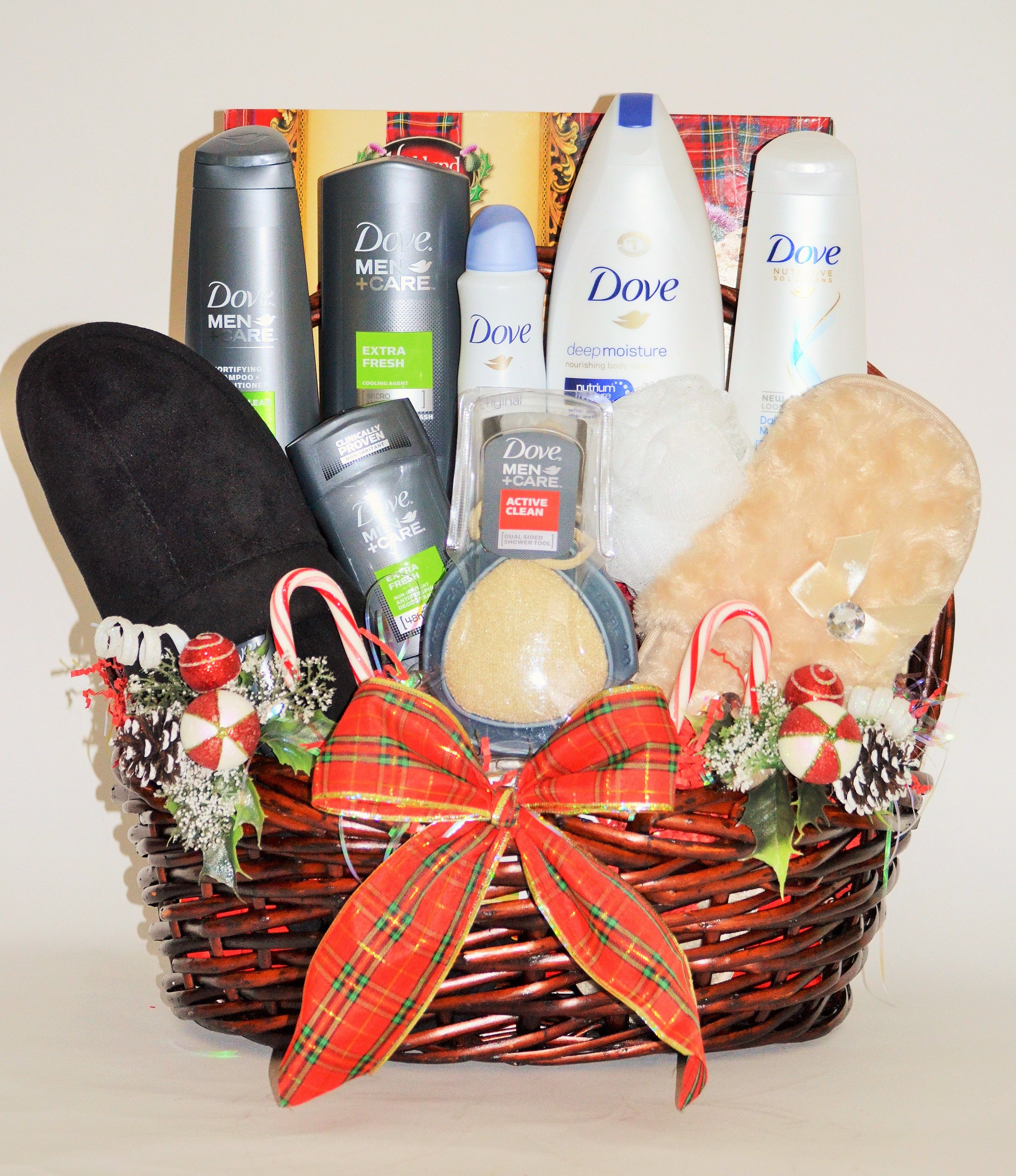 His and hers holiday dove spa gift basket spa gift