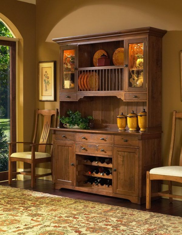 Image of Country Kitchen Buffet and Hutch with Picture of ...