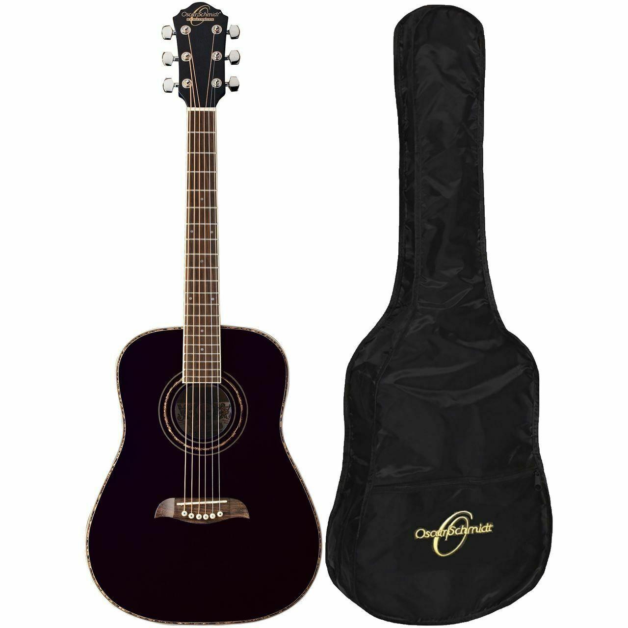 Details About Oscar Schmidt Oghsb 1 2 Size Acoustic Guitar Kit With Gig Bag Black Acoustic Guitar Kits Guitar Guitar Kits