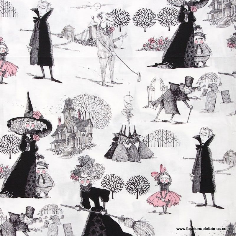 The Ghastlies on white by Alexander Henry Fabrics Halloween Cotton Novelty Fabric 7155