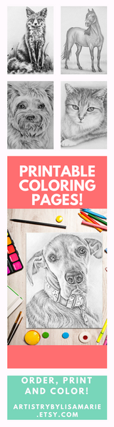 Need some creative and relaxing fun? Enjoy these printable coloring pages! All drawn by hand, these lovely grayscale images are perfect! PLUS you can print them again and again! See all printable coloring pages @ ArtistryByLisaMarie.etsy.com