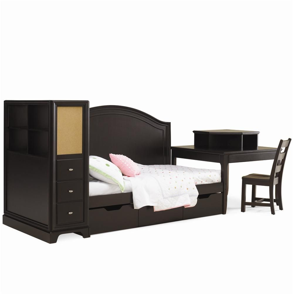 Midtown Twin Size Contemporary Youth Daybed With Underbed Storage, Built In  Bookshelf And Desk
