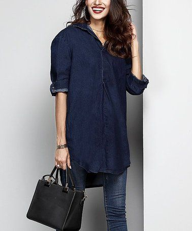 fa35a574aab1 Look what I found on  zulily! Dark Indigo Chambray Button-Front Roll-Tab  Tunic - Women  zulilyfinds