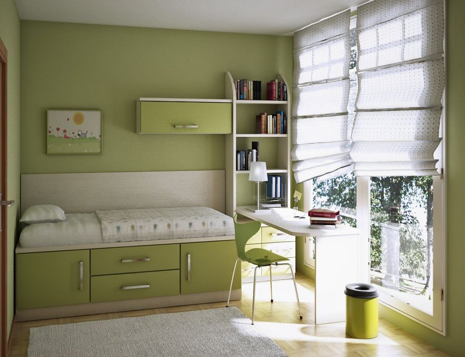 Awesome Narrow Bed With Storage Also Simple Kids Room Desk
