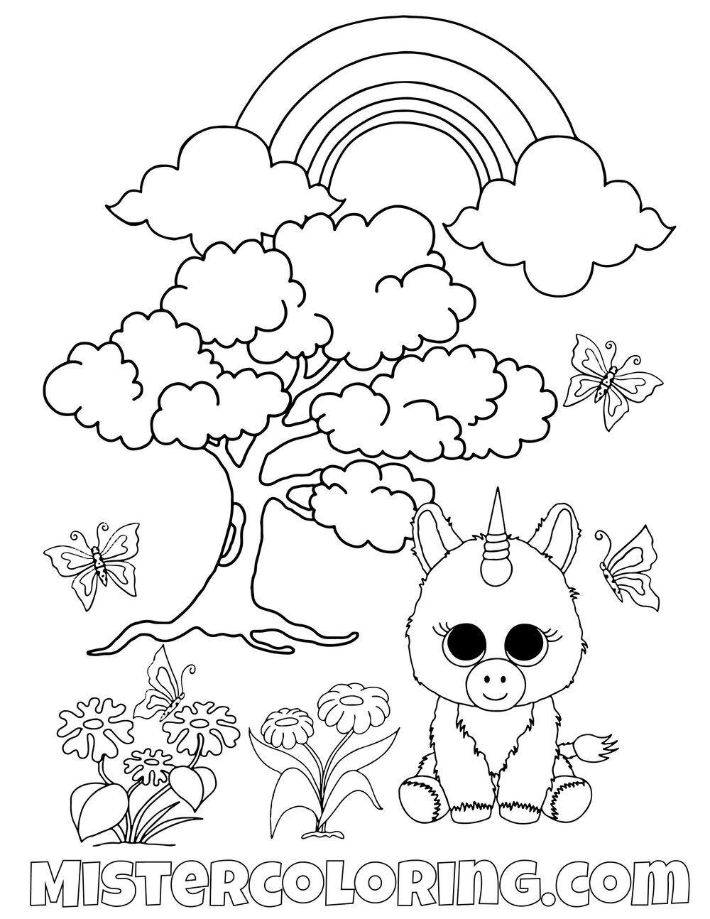 Rainbow World Beanie Boo Coloring Pages For Kids Kleurplaten Voor Kinderen Kleurplaten Beanie Boo