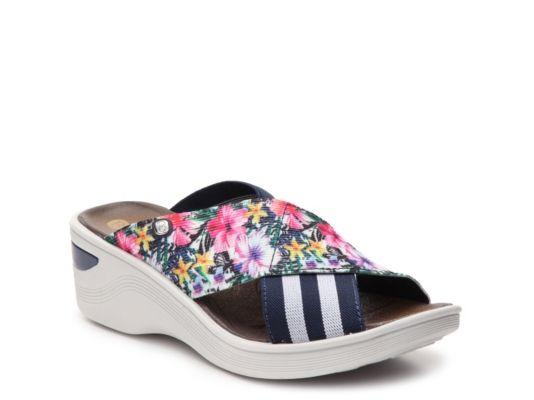034683fbfbe Women s Bzees Desire Wedge Sandal - Navy White Floral Bzees Shoes