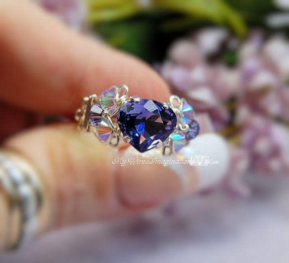 Tanzanite Swarovski Heart Shape Crystal Hand by MyWiredImagination