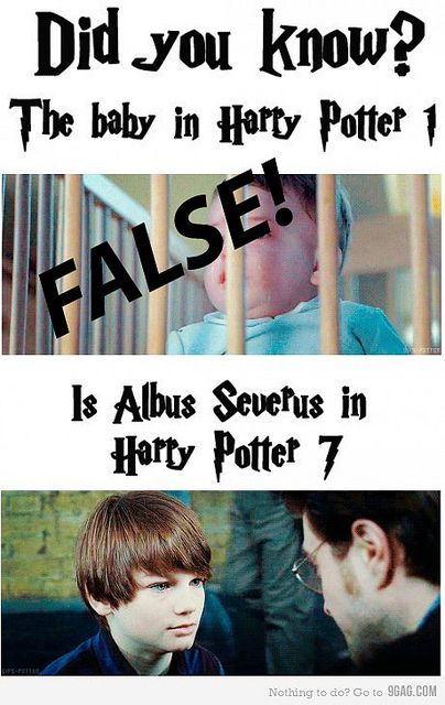 The Harry Potter baby in the first movie was played by the Saunders Triplets. The baby in the last movie is played by Toby Papworth. The kid who plays Albus Severus is played by Arthur Bowen. (And it is Harry Potter 8 not -_- *smh*