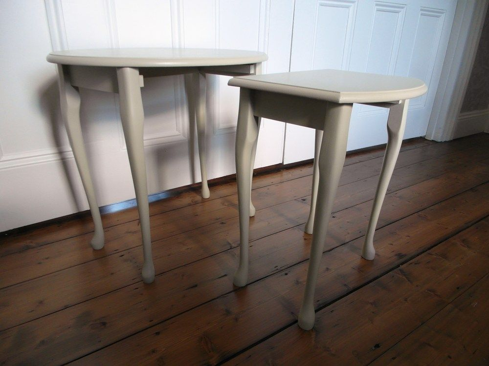 Nest Of Two Tables Painted In Farrow Ball Bone And Finished With