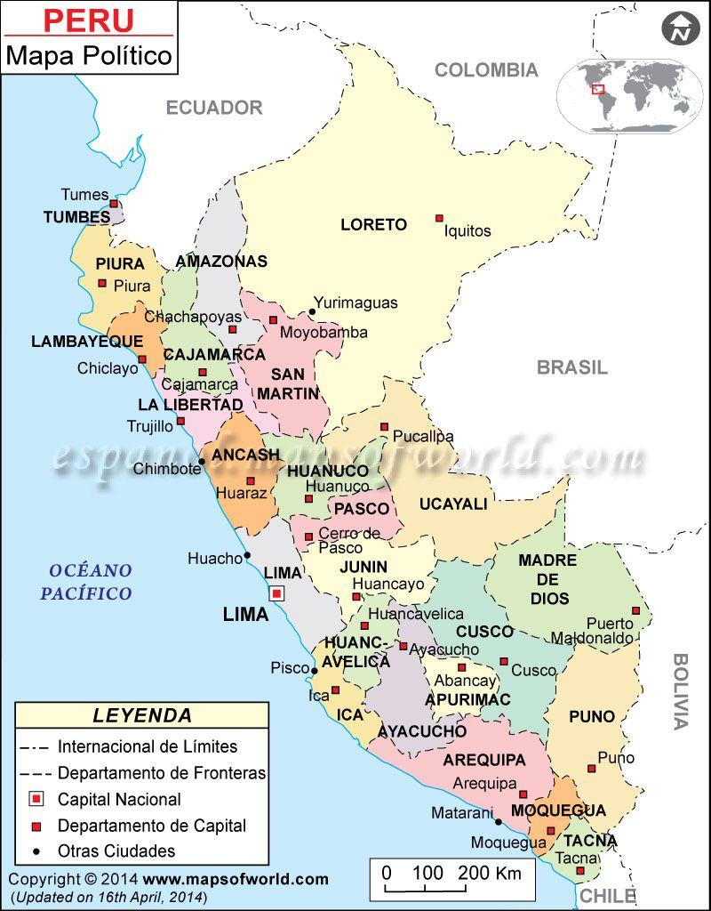 Mapa Politico del Peru Mapa Politico de Peru Peru South america