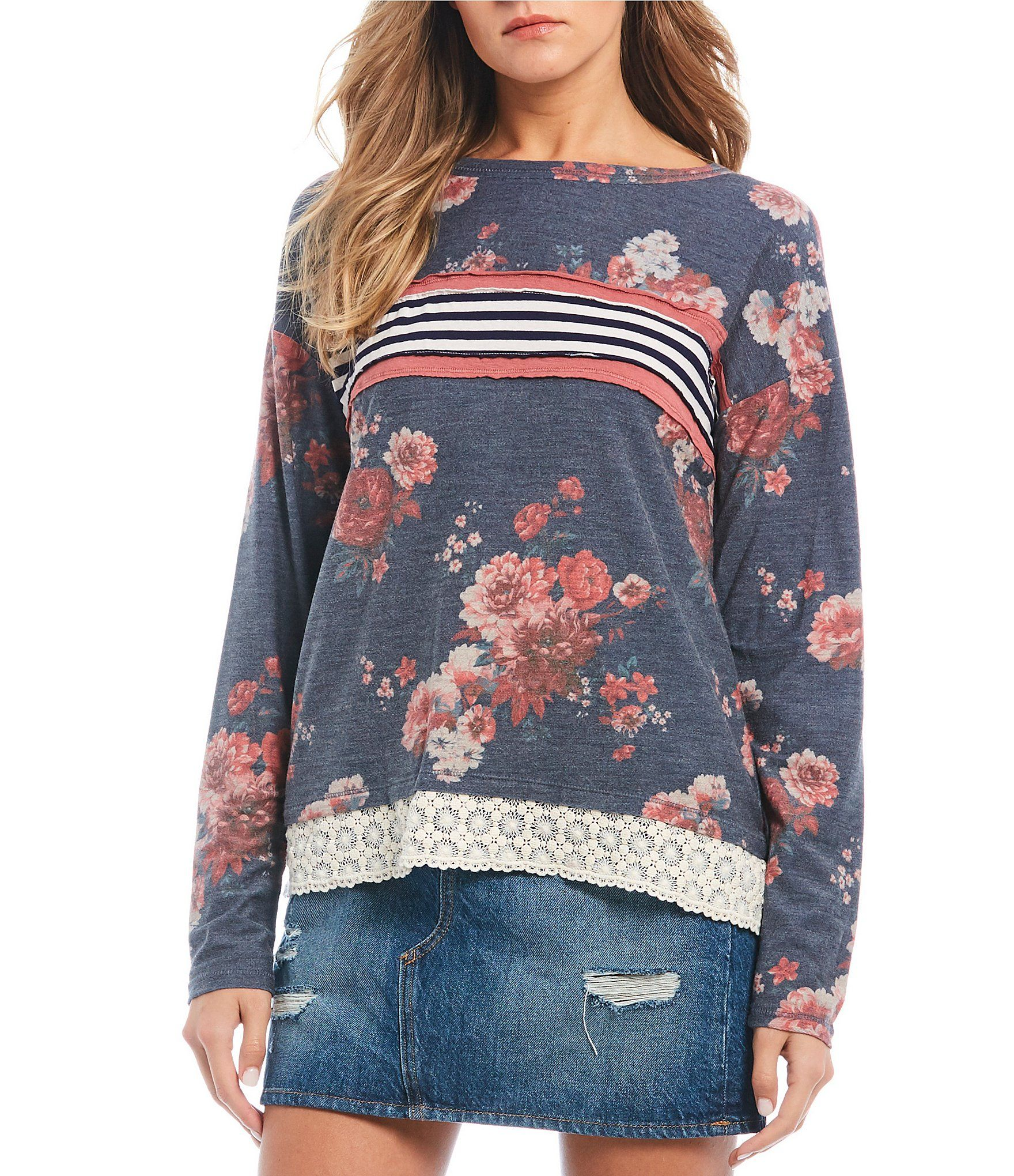 Jolt Floral Stripe Long Sleeve Top | Dillard's #stripedlongsleevetops