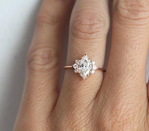 Photo of One Carat Rose Gold Diamond Ring with Marquise cut diamond in 18k rose gold, Minimalvs Jewelry