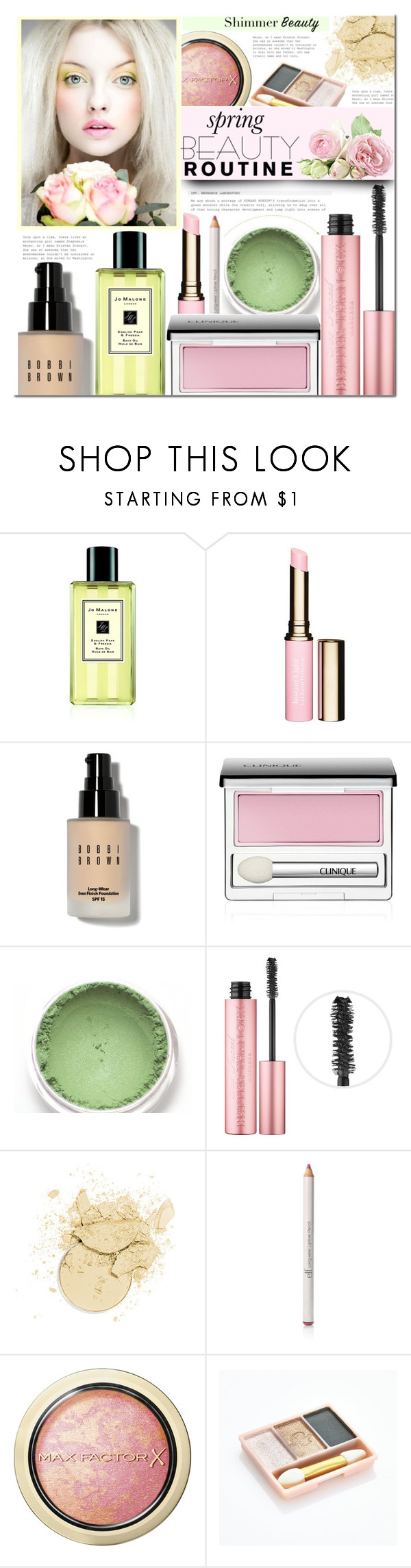 """""""Morning Beauty Routine"""" by mada-malureanu ❤ liked on Polyvore featuring beauty, Jo Malone, Clarins, Bobbi Brown Cosmetics, Clinique, Too Faced Cosmetics, e.l.f., Max Factor, Paul & Joe and Spring"""