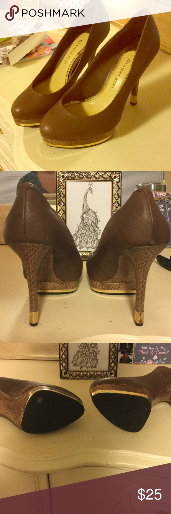 Size 6 Gianni Bini heels Size 6 brown Gianni Bini 4 inch heel. Gianni Bini Shoes Heels