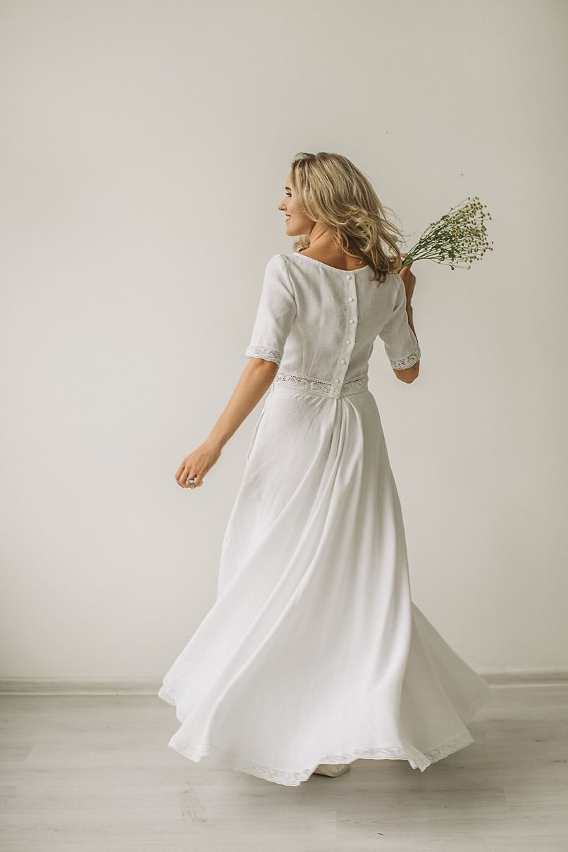 Linen Wedding Dress Made To Measure Ethically No Factory Use Linen Wedding Dress Crop Top Wedding Dress Top Wedding Dresses