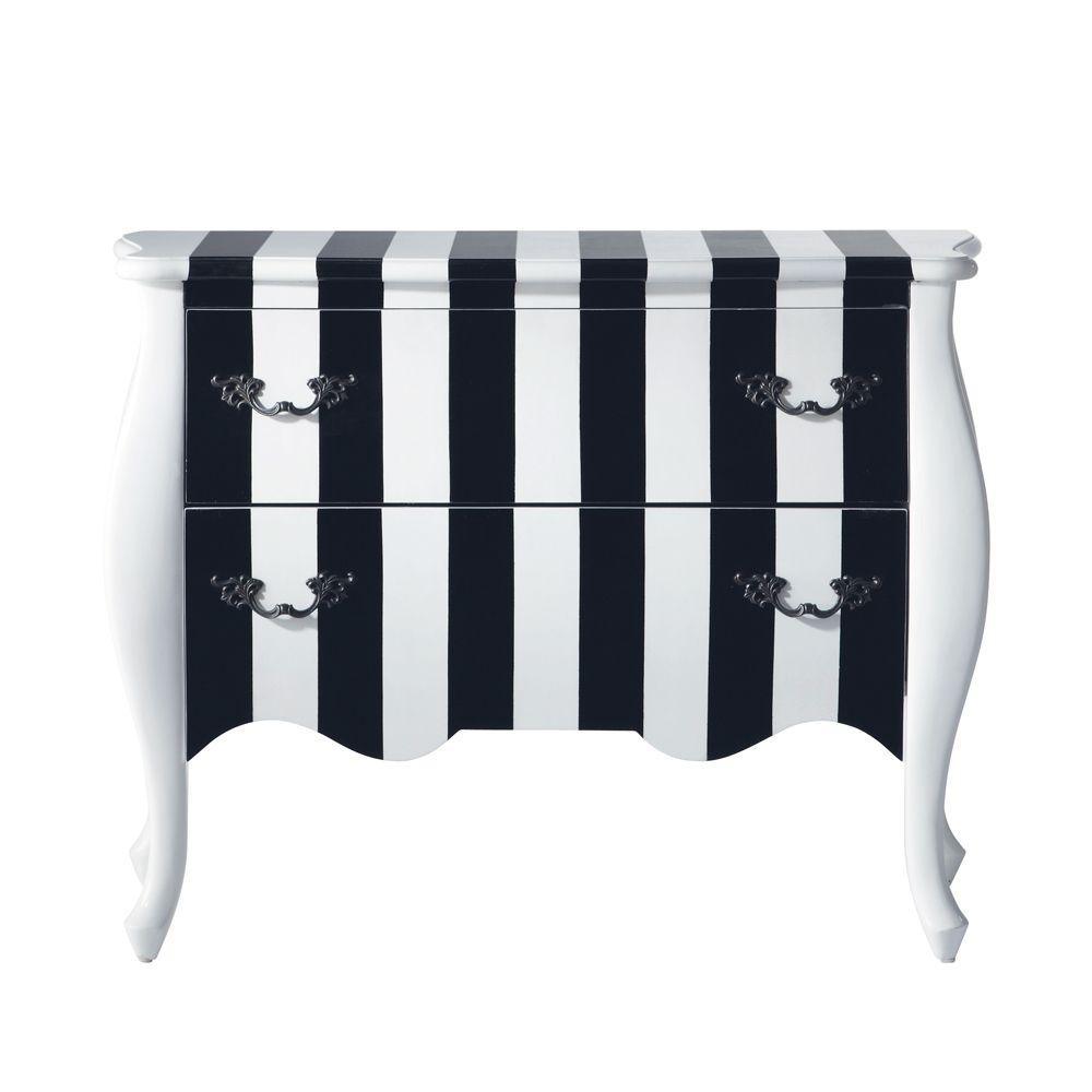 commode à rayures en bois noire et blanche l ... - karl | an ... - Chaise Tulipe Maison Du Monde 2