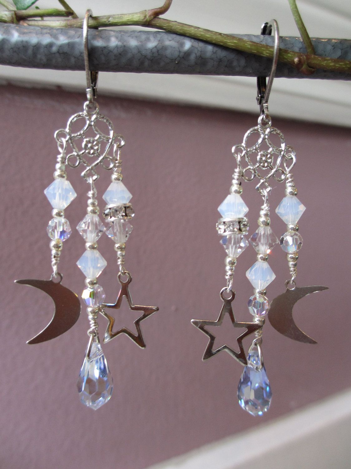 Moon Star and Teardrop Earrings with Swarovski Crystals