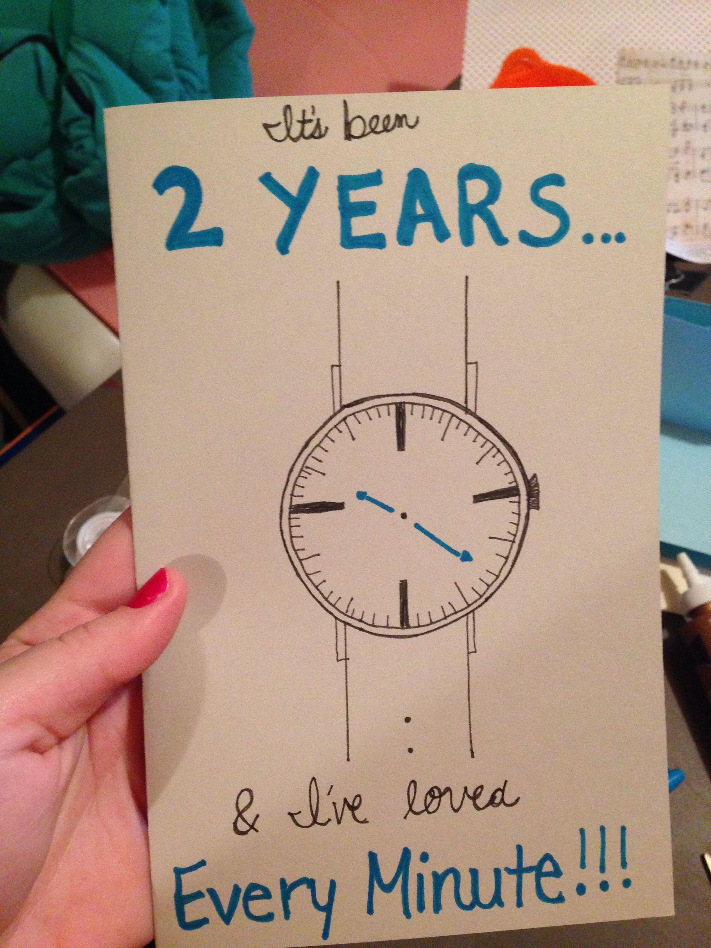 I made this card for my boyfriend for our 2 year anniversary! I also got  him a Dallas Cowboys watch to go with this!