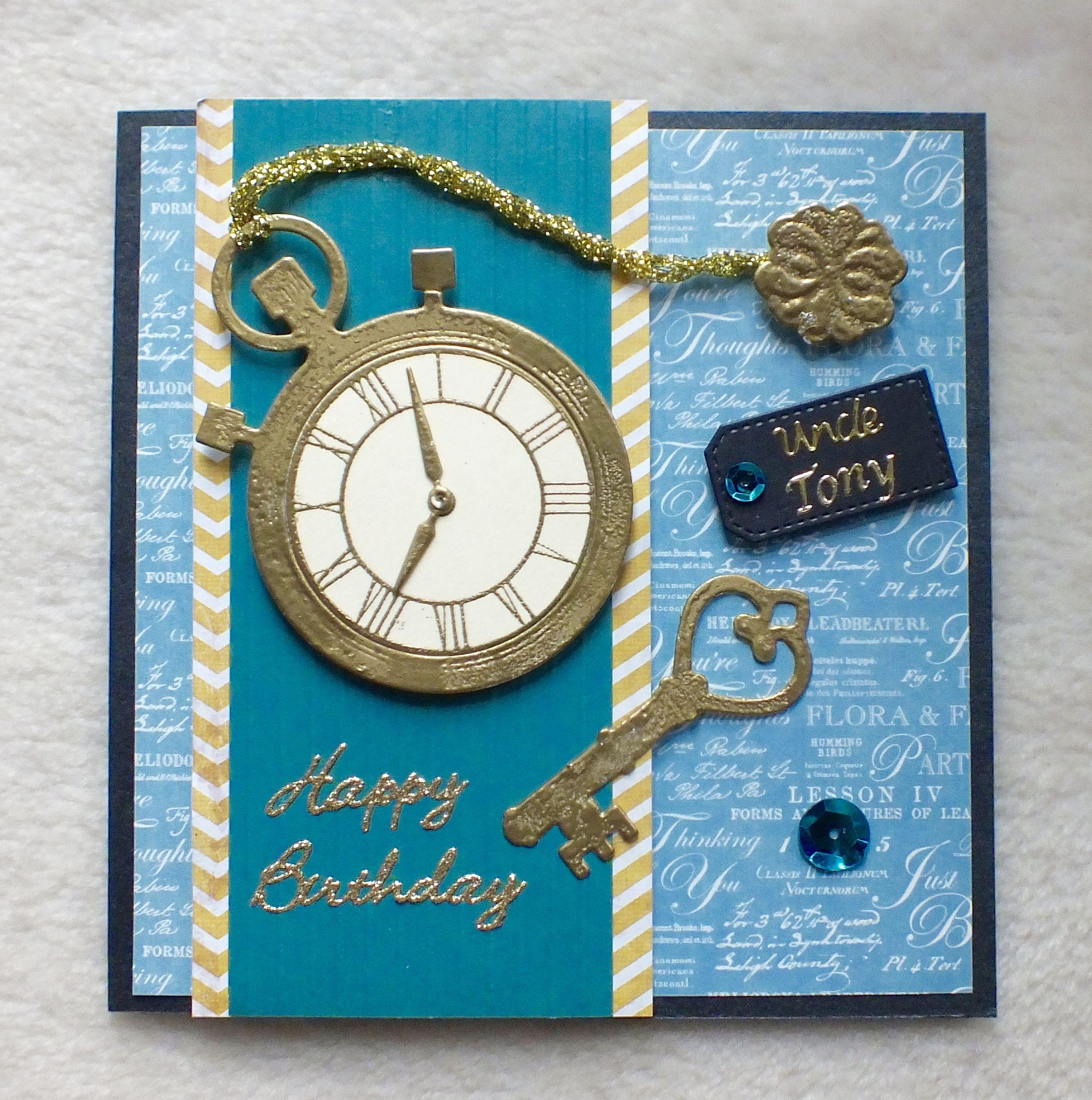Pin By Gagan Sampla On Clocks: Pocket Watch, Die Cut And Heat Embossed, Birthday Card