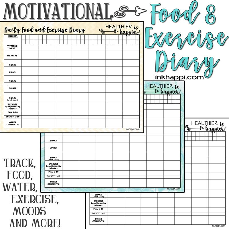 motivational food and exercise diary free printable beauty