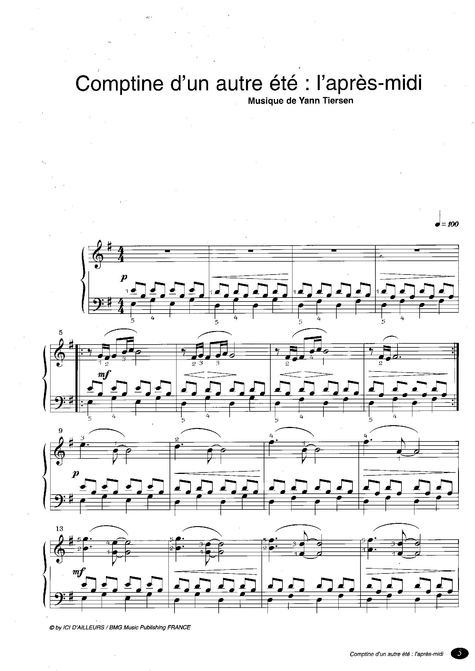 Comptine D Un Autre été Guitare Tab Sheet Music From The Movie Amelie Poulain Bladmuziek Muziek Piano