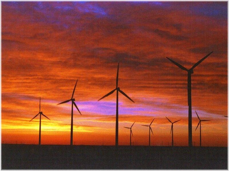 Wind Farm and sunset near Cheyenne, WY