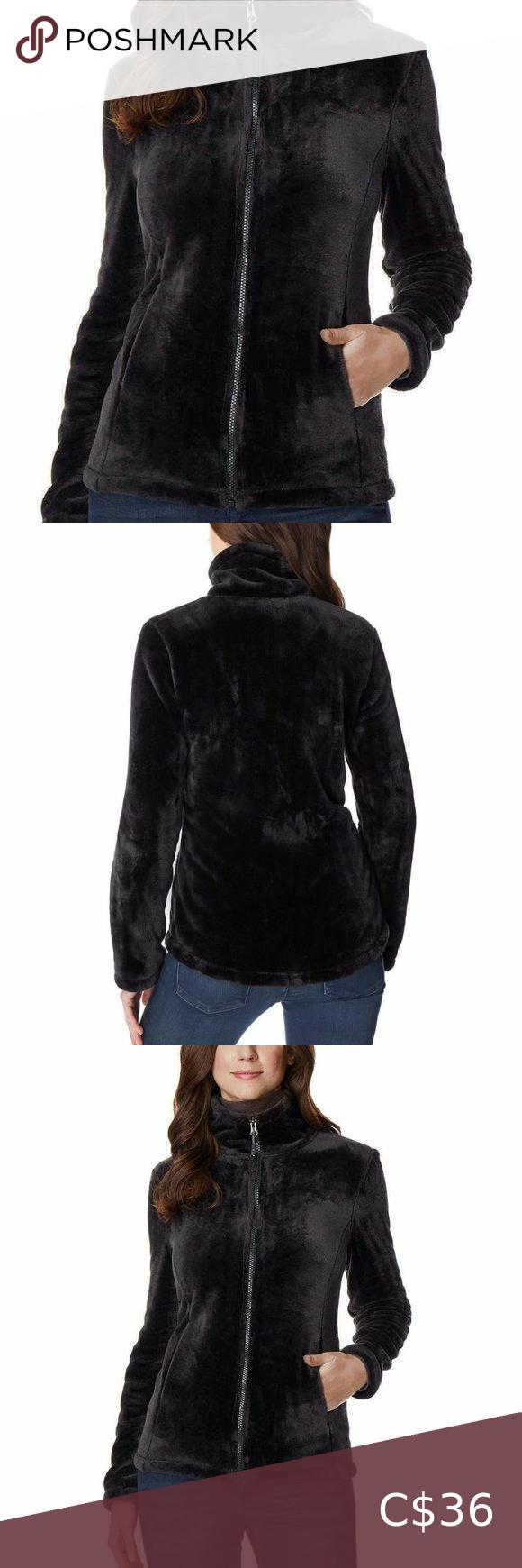 NEW 32 Degrees Heat Women Plush Velour Full Zip Mock Neck Jacket