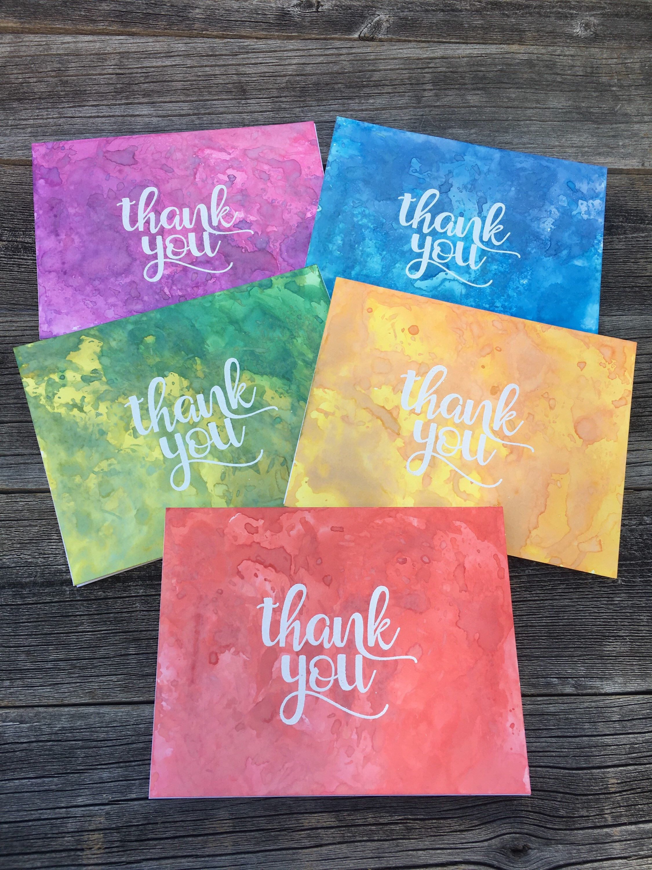 Set Of 5 Watercolor Thank You Cards Handmade Thank You Card Set