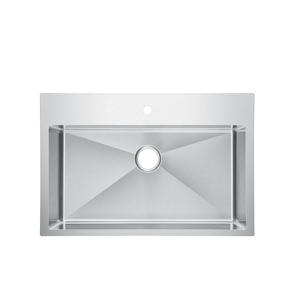 Water Creation Small Radius Drop In Stainless Steel 33 In 1 Hole Single Bowl Kitchen Sink With Strainer And Grid In Satin Sssg Ts 3322b 16 Single Basin Kitchen Sink Single Bowl Kitchen Sink Water Creation