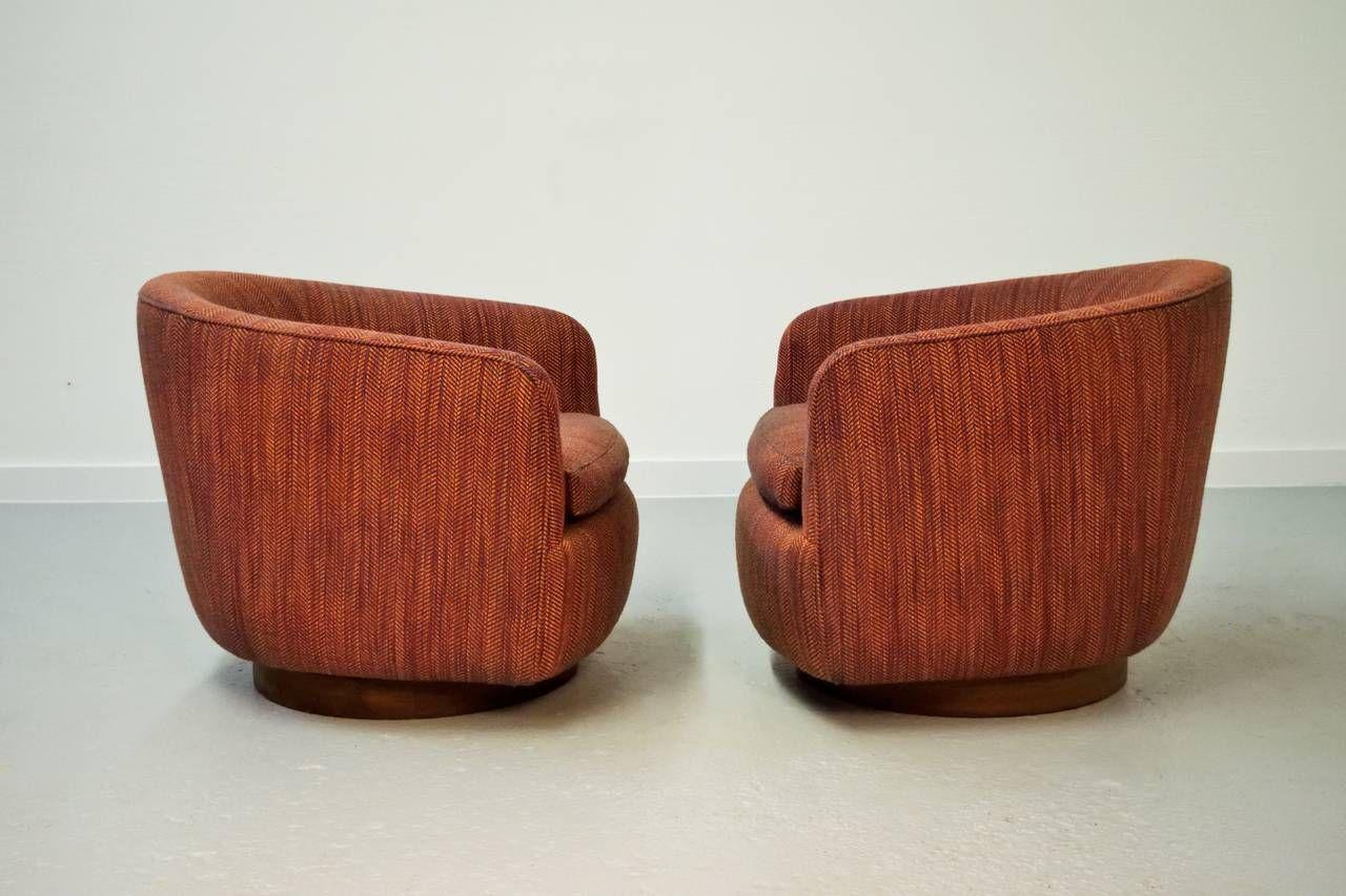 Pair Of Milo Baughman Swivel Chairs