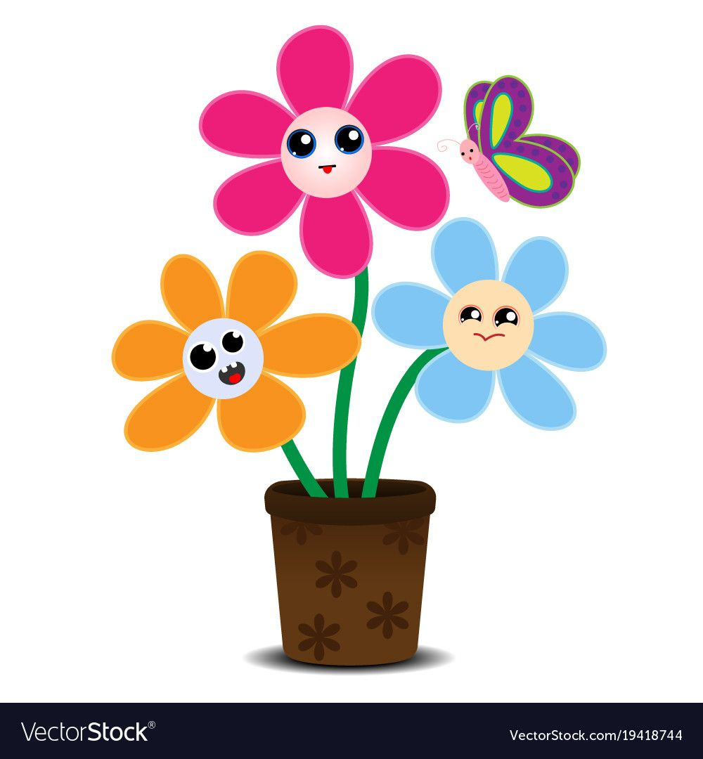 Cute cartoon flowers on a flower pot vector image on (With