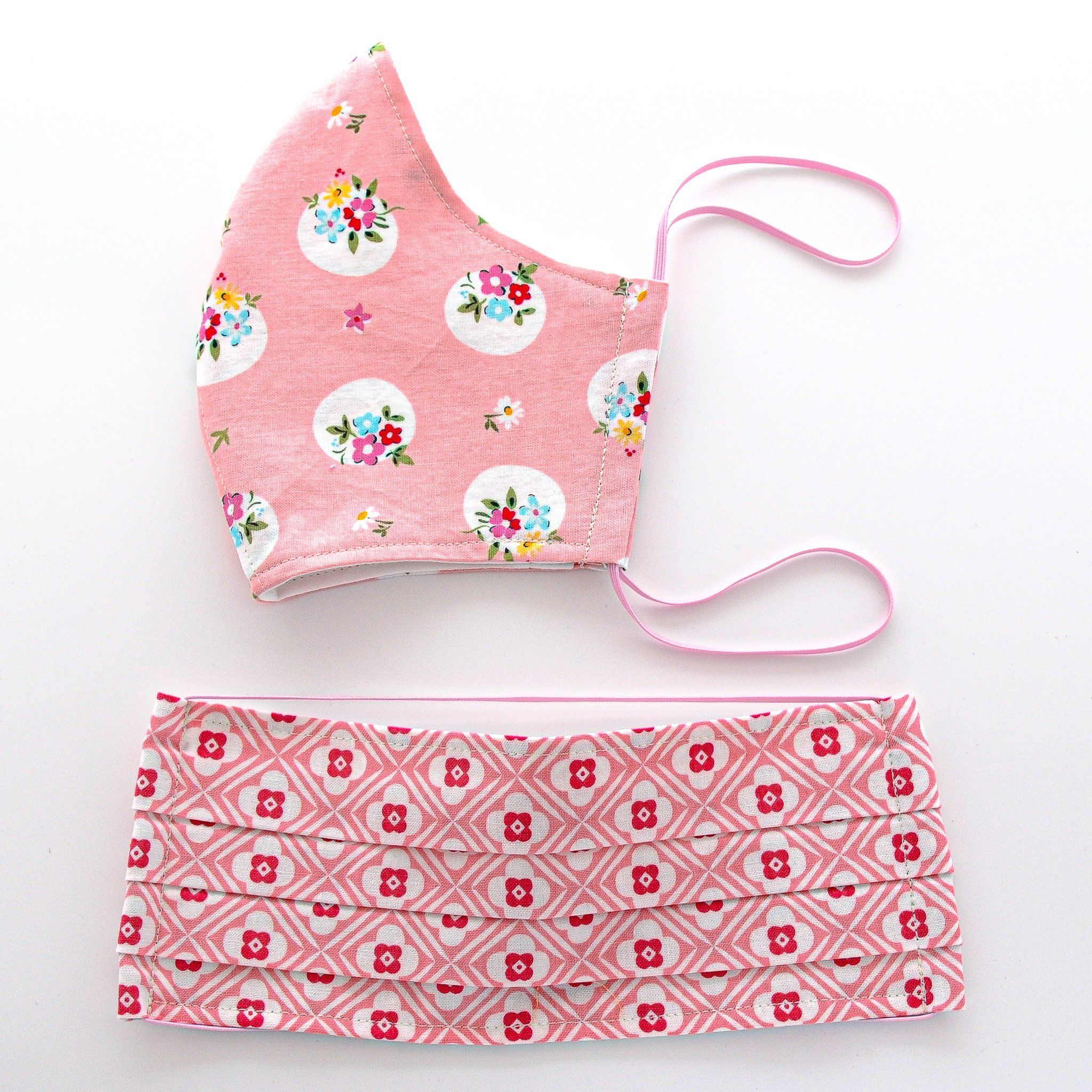 Photo of Face Mask – Pink II – floral, daisies, dots, geometric and pemberley designs – filter pocket, nose wire option – Fabric 4 / Nose Wire – No